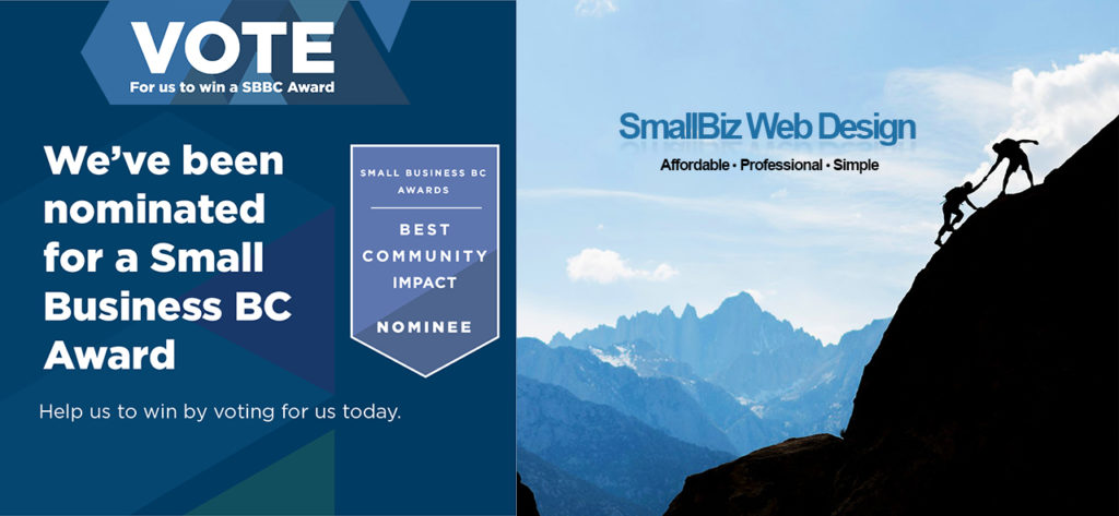SmallBiz Web Design has been Nominated for a Small Business B.C. Award